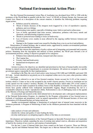 National Environmental Action Plan