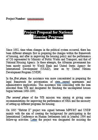 National Housing Program Project Proposal