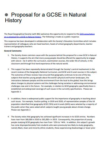 Natural History Proposal