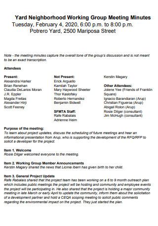 Neighborhood Working Group Meeting Minutes