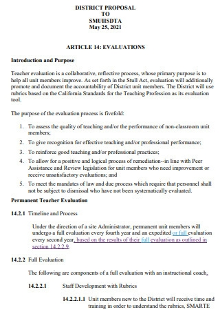 New Article Evaluation Proposal