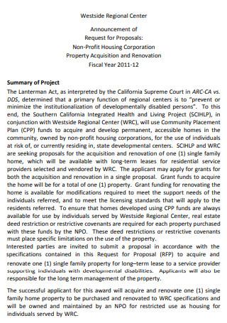 Non Profit Housing Corporation Project Proposal