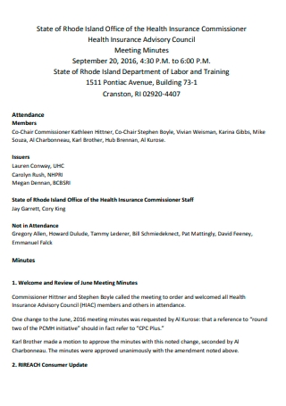 Office of Health Insurance Meeting Minutes