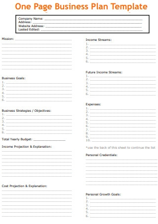One Page Action Plan Template