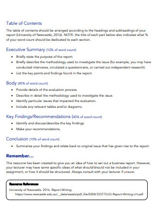 One Page Business Report Template