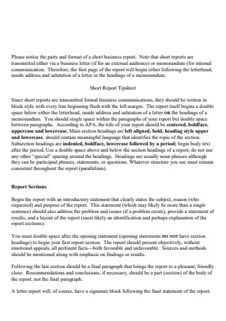 One Page Short Business Repor