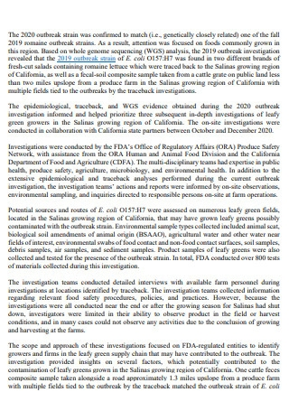 Onfarm Outbreak Investigation Report