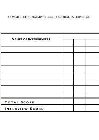 Oral Interview Commitee Summary Sheet