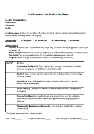 Oral Presentation Evaluation Sheet