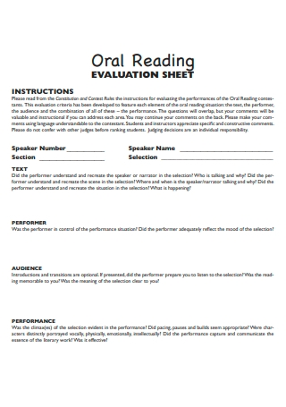 Oral Reading Evaluation Sheet