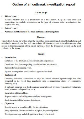 Outbreak Investigation Report Outline
