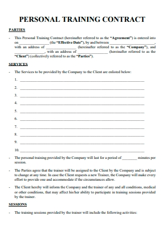 Personal Training Contract Example