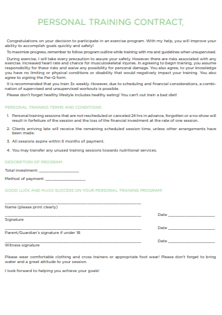 Personal Training Contract in PDF