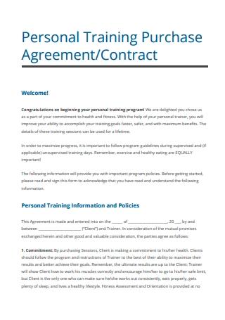 Personal Training Purchase Contract