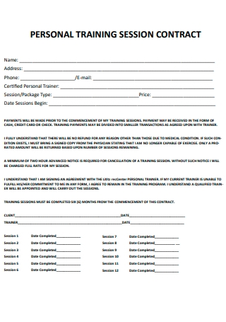 Personal Training Session Contract