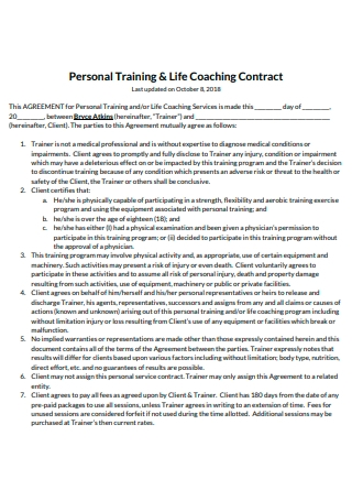Personal Training and Life Coaching Contract