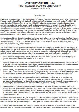 President Council Diversity Action Plan