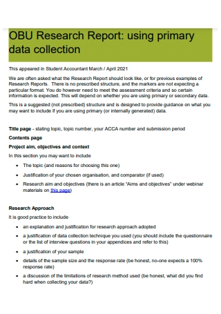 Primary Data Collection Research Report