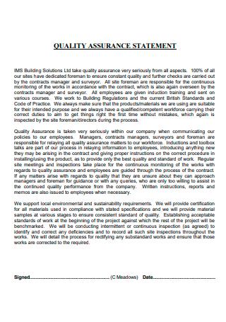 Printable Quality Assurance Statement