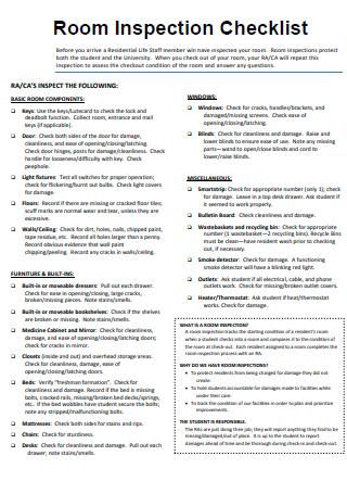 Printable Room Inspection Checklist