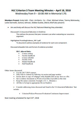 Printable Team Meeting Minutes