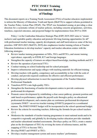 Printable Training Needs Assessment Report