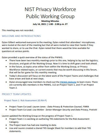 Privacy Workforce Public Working Group Meeting Minutes
