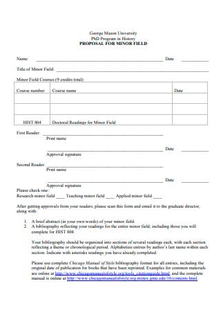 Program in History Proposal For Minor Field
