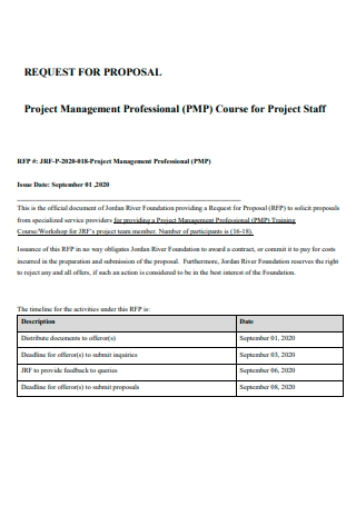Project Management Professional Proposal
