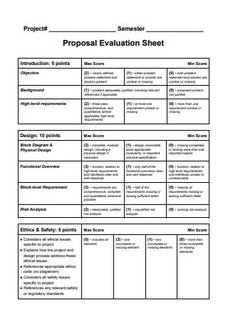 Proposal Evaluation Sheet