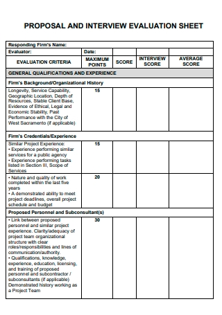 Proposal and Interview Evaluation Sheet