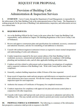 Provision of Building Code Administration Proposal