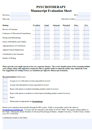 Psychotherapy Evaluation Sheet