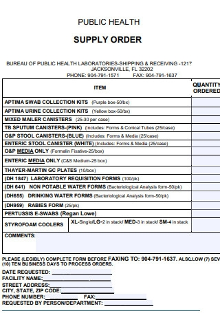 Public Health Supply Order