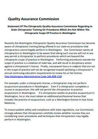 Quality Assurance Commission Statement