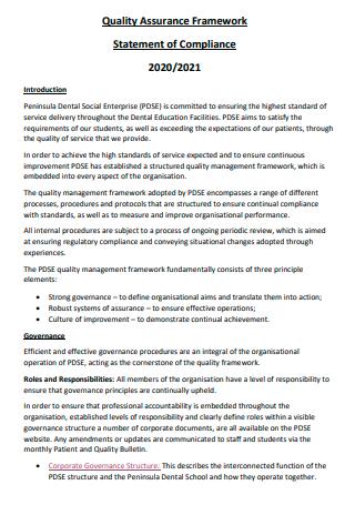 Quality Assurance Framework Statement of Compliance