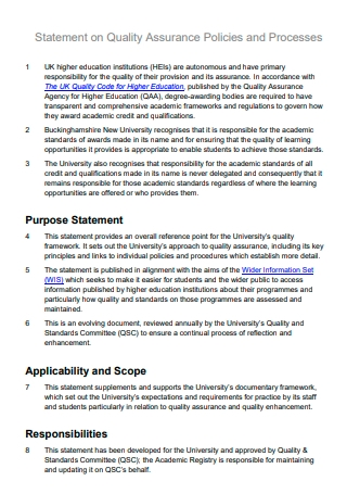 Quality Assurance Policies and Processes Statement