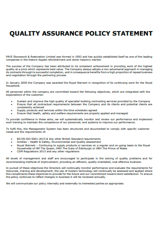 Quality Assurance Policy Statement