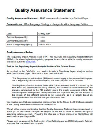 Quality Assurance Statement Format
