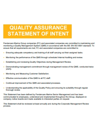 Quality Assurance Statement of Intent