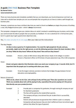 Quick One Page Action Plan