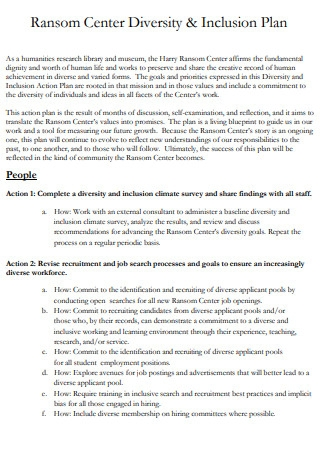 Ransom Center Diversity Action Plans