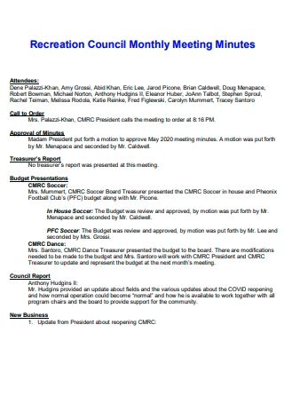 Recreation Council Monthly Meeting Minutes