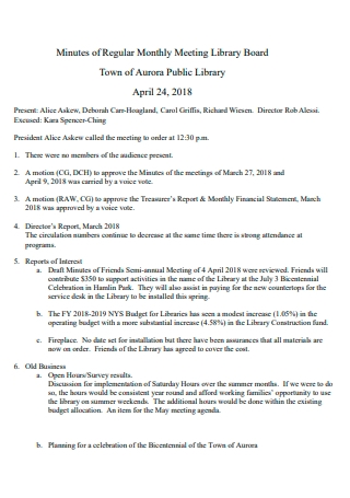 Regular Monthly Meeting Library Board Minutes