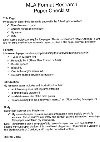 Research Paper Checklist Format