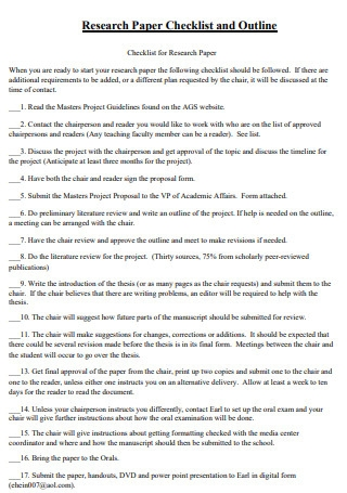 Research Paper Checklist and Outline