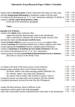 Research Paper Editor Checklist