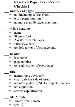 Research Paper Peer Review Checklist