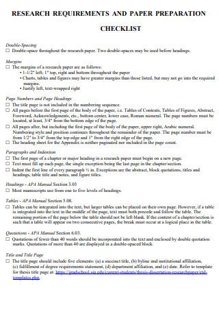 Research Paper Preparation Checklist