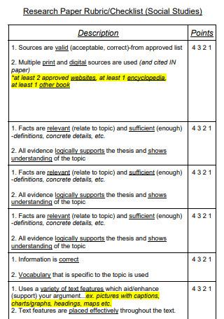 Research Paper Rubric Checklist